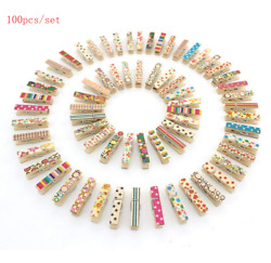 100 Mini Colorful Wooden Craft Clips Photo Paper Peg Pin Clothes Pin Craft Clips
