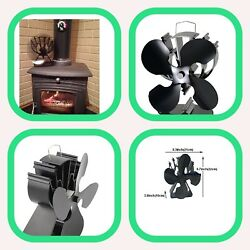 New 4-Blade Heat Powered Stove Fan WoodLog BurnerFireplace Increases 80% More