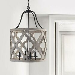 Distressed White Wood Hanging Pendant Lantern Farmhouse Chandelier Ceiling Lamp $254.99
