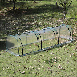 Outsunny Outdoor Warm House Clear PVC Tunnel Greenhouse Portable 3 Zipped Door
