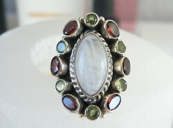 Large NICKY BUTLER? Sterling Silver Moonstone HUGE Chunky Knuckle Ring Size 6