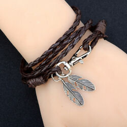 1pcs Fashion Multilayer Leather Bracelet Women Men Braided Rope Wrap Bangles