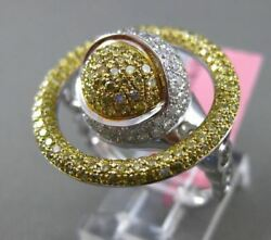 ESTATE EXTRA LARGE 1.85CT WHITE & YELLOW DIAMOND 18KT TWO TONE GOLD GLOBE RING