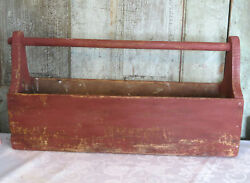 Antique Wood Wooden Grubby Primitive Tool Box Carrier Barn Red Carpenters Caddy