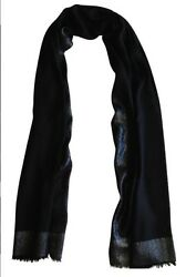 1K Loro Piana Black LONG Scarf Stole Cashmere Silk Made in Italy Evening Shawl