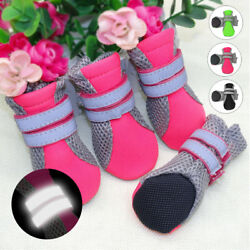 4pcs Reflective Dog Shoes Anti slip Paw Protection Mesh Boots Booties Breathable $10.59