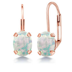 2.00 Ct Oval Cabochon White Simulated Opal Brass Rose Gold Plated Brass Earrings