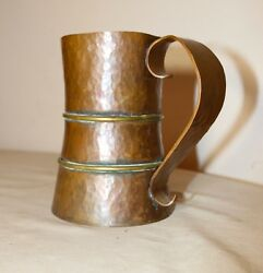 large antique 1800's Arts & Crafts handmade hammered copper brass beer mug stein
