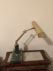 Desk Lamp Marble Base Antique Brass Shade for Office Table $90.00