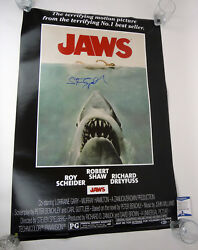 Steven Spielberg Signed Autograph Jaws Full Size Movie Poster Beckett BAS COA