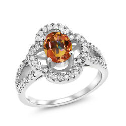 1.87 Ct Oval Ecstasy Mystic Topaz 925 Sterling Silver Ring