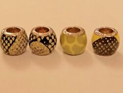 4  Bacio Africa enamel beads multi colours sterling silver
