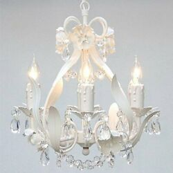 Wrought Iron Crystal Chandelier Lighting Country French White Ceiling Fixture $99.99