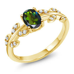 18K Yellow Gold Plated Silver 1.01Ct Oval Green Mystic Topaz Solitaire Leaf Ring