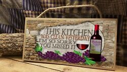 Wine Kitchen This Was Clean Yesterday Sign Italian Plaque 5quot;x10quot; $12.99
