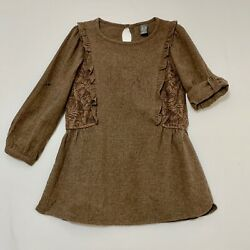 Zara Kids Lined Roll Up Down Sleeve Brown Dress w Lace Overlay Panels 4 5 $29.99