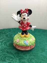 Minnie Mouse Toyko Ceramic Music Box Plays a Happy Tune as she turns Red White