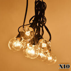 10X G40 Clear Outdoor Patio Globe String Lights Festoon Party Light 100 Bulbs