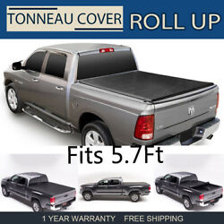 BLACK Soft & Lock Roll Up Tonneau Cover For 2009-18 Dodge Ram Crew Cab 5'7