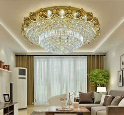LED Remote Control K9 Crystal Gold Ceiling Light Chandeliers Lighting Lamps 6026