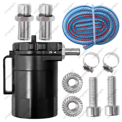 Black Baffled Oil Catch Can Tank Reservoir Breather&Fittings Solid Aluminum