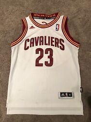 Adidas LeBron James Cleveland Cavaliers Jersey Stitched White Youth M NBA Cavs
