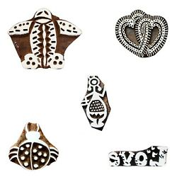 Wooden Printing Blocks Stamps Handmade Warli Art Love Aeroplane Ladybug Crafts