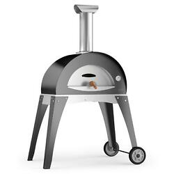 Alfa Ciao M 27-Inch Outdoor Wood-Fired Pizza Oven - Silver Gray