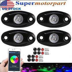 4Pcs RGB LED Rock Light Multicolor Remote Control Wireless Bluetooth For Jeep