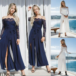 Summer Women's Lace Off Shoulder Lady Summer Beach Party Dress Casual Dress