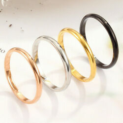 2pcs Thin Stackable Ring Punk Stainless Steel Plain Band Men Women Size 3-10