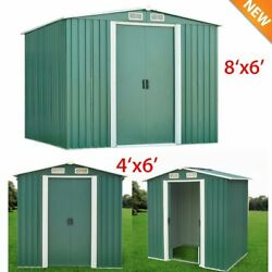 6'x4'6'X8' Outdoor Garden Storage Utility Shed Sliding Door Steel Tool House TO