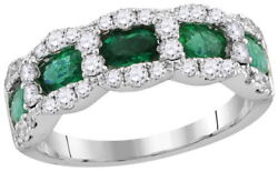 18k 1.75ct Emerald Diamond Band Ring White Gold New Tag Size 7 8 9