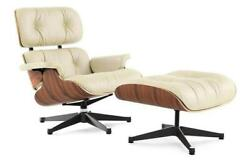 HIGH-END Eames Lounge Chair and Ottoman Replica Cream Premium Italian Leather