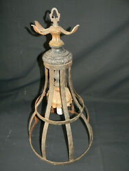 Large Antique Light Fixture 2 foot tall Architectural Ornate Metal Brass $300.00
