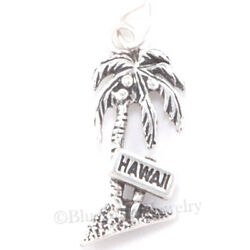 PALM TREE Charm HAWAII Sign Hawaiian charm 925 Sterling Silver Beach Ocean .925
