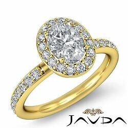 Halo Pave Set Oval Cut Diamond Engagement Ring GIA I VS2 18k Yellow Gold 2.04ct