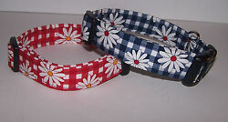 Wet Nose Designs Gingham Daisies Dog Collar Flower Floral Red Blue Yellow Checks $7.99