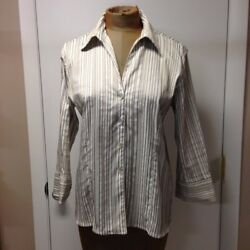 Robert Kitchen Canada Women#x27;s Brown Striped V neck Blouse M $10.00