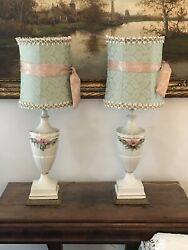 2 Antique Lamps French Style Porcelain Enameled Raised Flowers Lamp Light $130.00
