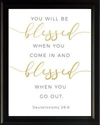 Deuteronomy 28:6 You Will be Poster Print Picture or Framed Wall Art $14.99