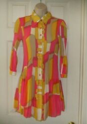 Vintage Hot Pink Multi Colors Size Small Sexy Stretchy Little Dress Women#x27;s Clo $24.99
