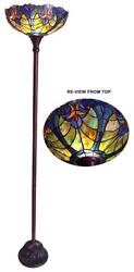 Stained Glass Chloe Lighting Victorian Torchiere Floor Lamp 15quot; Wide Handcrafted $171.46