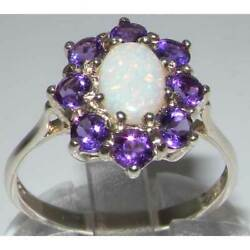 10k White Gold Natural Opal & Amethyst Womens Cluster Ring - Sizes 4 to 12
