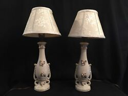 TWO VICTORIAN LAMPS WHITE with RAISED PINK ROSES amp; GREEN LEAVES $26.95