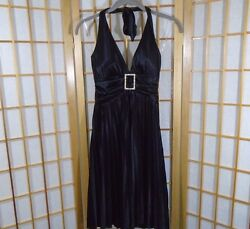 Women Juniors Black Prom Party Formal Halter Dress Size Small $17.99