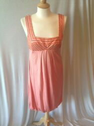 Badgley Mischka Size 8 Bubble Dress Silk Sleeveless Coral Orange Prom Formal
