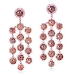 35.28ct Ice Diamond Chandelier Earrings 18kt Rose Gold Party Wear Jewelry