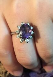 RING BRILLIANT CZ OVAL PURPLE AMETHYST COLOR CIRCLED W CZ STONES 925 SIZE 7