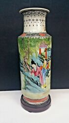 ANTIQUE CHINESE FAMILLE ROSE ENAMELED PORCELAIN VASE HAND PAINTED SIGNED W STAND